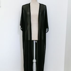 Ankle Length Sheer Black Duster Coverup